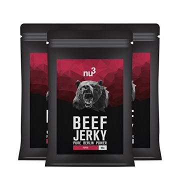nu3 Beef Jerky Pepper / Peppered 3x 50g - Low Carb (1,6%), Low Fat (2,6%), dafür aber satte 53% Protein; Trockenfleisch / Dörrfleisch rustikal gewürzt mit Zwiebeln, Knoblauch und Pfeffer -